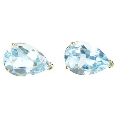14K Pear Blue Topaz Solitaire Classic Stud Earrings Yellow Gold [CXXS]