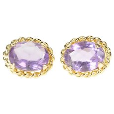 14K Oval Amethyst Solitaire Rope Trim Stud Earrings Yellow Gold [CXXS]