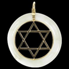 14K Carved Jade Star of David Jewish Faith Pendant Yellow Gold [CXXS]