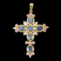 18K Natural Oval Sapphire Ruby Ornate Cross Christian Pendant Yellow Gold [CXXS]