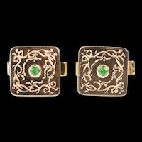 14K Retro Etched Emerald Inset Ornate Men's Cuff Links Yellow Gold [CXXS]