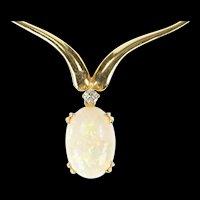 "14K Natural Opal Diamond Chevron Statement Necklace 17.25"" Yellow Gold [CXXS]"