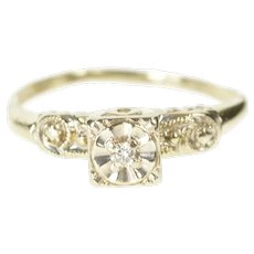 14K Retro Diamond Ornate Solitaire Promise Ring Size 6.75 White Gold [QRQC]