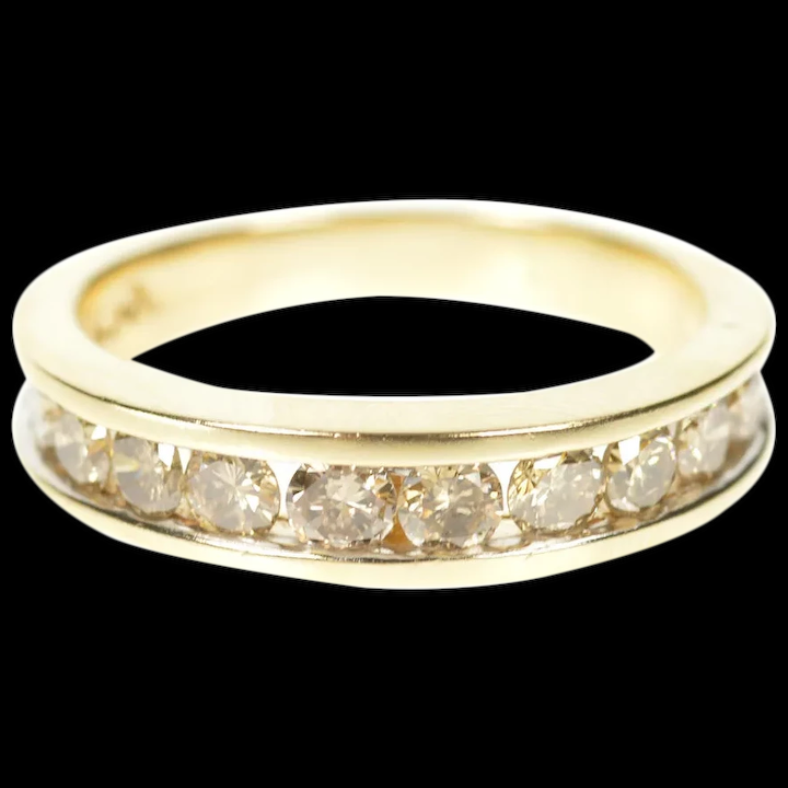 10k 0 80 Ctw Light Brown Diamond Wedding Band Ring Size 7 Yellow Gold M Barr Jewelry Ruby Lane