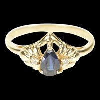 14K Pear Natural Sapphire Diamond Engagement Ring Size 6.25 Yellow Gold [CXXS]