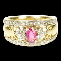 14K 1.10 Ctw Natural Ruby Diamond Engagement Ring Size 7.25 Yellow Gold [CXXS]