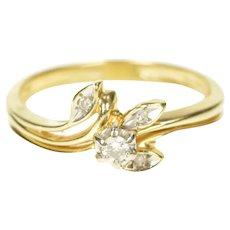 14K Diamond Leaf Branch Bridal Set Engagement Ring Size 6.5 Yellow Gold [CXXQ]