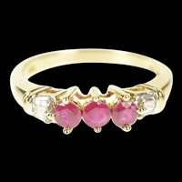 10K Natural Ruby Baguette Diamond Wedding Band Ring Size 7 Yellow Gold [CXXS]