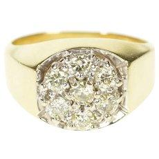 14K 0.89 Ctw Diamond Men's 1960's Retro Statement Ring Size 10 Yellow Gold [CXXQ]