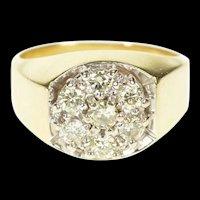 14K 0.89 Ctw Diamond Men's 1960's Retro Statement Ring Size 10 Yellow Gold [CXXS]