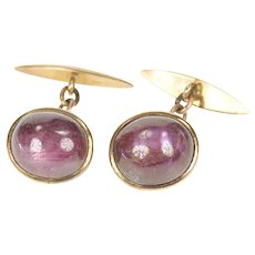 14K Men's Oval Natural Star Ruby Cabochon Chain Cuff Links Yellow Gold [CXXQ]