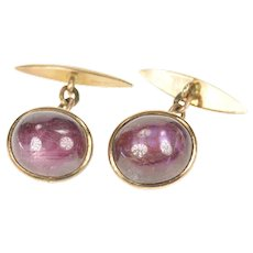 14K Men's Oval Natural Star Ruby Cabochon Chain Cuff Links Yellow Gold [CXXS]