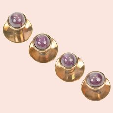 14K Men's Natural Star Ruby Cabochon Tuxedo Shirt Studs  Yellow Gold [CXXS]