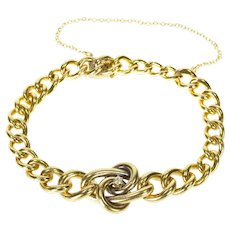 "14K 1940's Diamond Spiral Statement Chain Link Bracelet 7.25"" Yellow Gold [CXXS]"