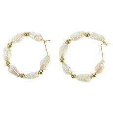 14K Blister Pearl Beaded Statement Hoop Earrings Yellow Gold [CXXQ]