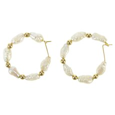 14K Blister Pearl Beaded Statement Hoop Earrings Yellow Gold [CXXK]