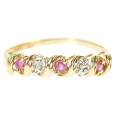 10K Ruby Diamond Wavy Design Wedding Band Ring Size 7 Yellow Gold [CXXK]