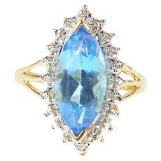 10K Marquise Blue Topaz Diamond Halo Cocktail Ring Size 5.5 Yellow Gold [CXXK]