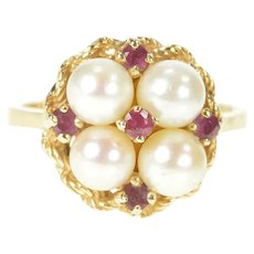 14K Retro Pearl Ruby Cluster Ornate Cocktail Ring Size 6.25 Yellow Gold [CXXS]