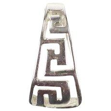 14K Curved Greek Key Wave Spiral Design Pendant White Gold [CXXS]