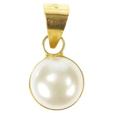 18K Classic Simple Round 8.0mm Pearl Pendant Yellow Gold [CXXS]