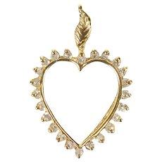 14K Classic Diamond Heart Valentine Anniversary Pendant Yellow Gold [CXXS]