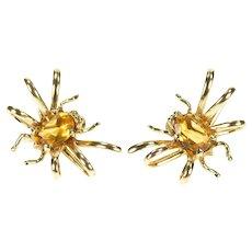 14K 1960's Ornate Citrine Spider Bug Screw Back Earrings Yellow Gold [CXXQ]