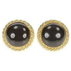 14K Round Black Onyx Rope Trim Post Back Earrings Yellow Gold [CXXS]