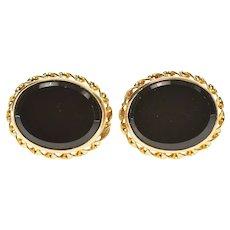 14K Oval Black Onyx Rope Trim Simple Stud Earrings Yellow Gold [CXXQ]