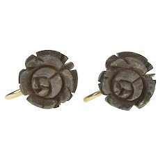 Gold Filled Carved Wood Flower Rose Peony Screw Back Earrings  [CXXS]
