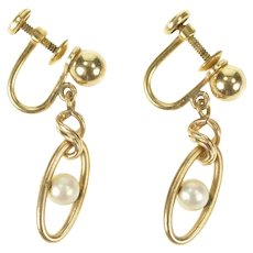 Gold Filled Oval Pearl Dangle Ball Design Screw Back Earrings  [CXXS]