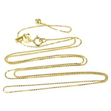 """18K 0.7mm Adjustable Box Chain Square Link Necklace 19.75"""" Yellow Gold [CXXS]"""
