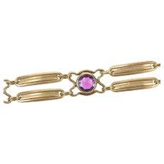 "Gold Filled 1940's Syn. Amethyst Ornate Bar Link Chain Bracelet 7""  [CXXS]"