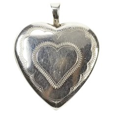10K Etched Heart Love Valentine Photo Picture Pendant White Gold [CXXQ]