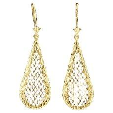 14K Tear Drop Dangle Curved Mesh Lattice Earrings Yellow Gold [CXXQ]