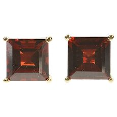 14K Square Garnet Solitaire Statement Stud Earrings Yellow Gold [CXXS]
