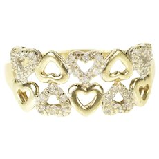 10K Heart Patterned Romantic Anniversary Valentine Ring Size 9 Yellow Gold [CXXQ]