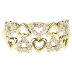 10K Heart Patterned Romantic Anniversary Valentine Ring Size 9 Yellow Gold [CXXS]