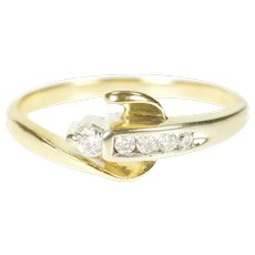 14K Diamond Inset Loop Swirl Two Tone Band Ring Size 7.25 Yellow Gold [CXXS]