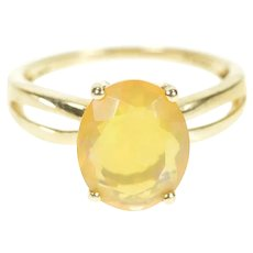 10K Oval Mexican Fire Opal Solitaire Statement Ring Size 6 Yellow Gold [CXXQ]