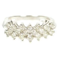 14K 1.20 Ctw Diamond Encrusted Statement Band Ring Size 6.75 White Gold [CXXP]