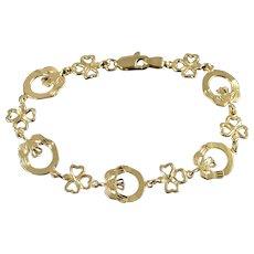 """14K Irish Claddagh Link Heart Hand Love Tennis Bracelet 7"""" Yellow Gold  [QWXK]"""