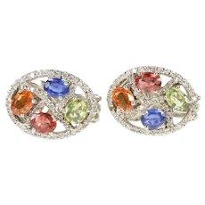 18K Oval Diamond Pave Blue Green Orange Sapphire Earrings White Gold [CXXC]