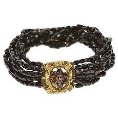 "10K Victorian Syn. Garnet Layered Glass Beaded Bracelet 6"" Yellow Gold [CXXP]"