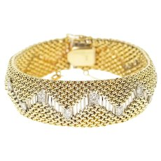 "14K 0.72 Ctw Diamond Zig Zag Mesh Rounded Chain Bracelet 7"" Yellow Gold [CXXP]"