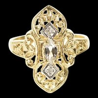 10K Cubic Zirconia Diamond Filigree Statement Ring Size 6 Yellow Gold [CXXP]