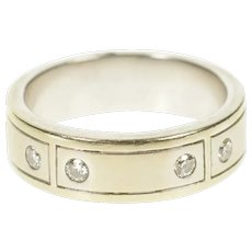 14K Shane Co. Diamond Squared Men's Wedding Band Ring Size 10 White Gold [CXXC]