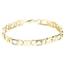 "14K Emerald Cut Blue Topaz Squared Chain Bracelet 7.25"" Yellow Gold [CXXP]"