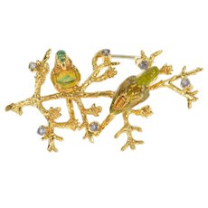 18K 1960's Ornate Enamel Bird Tanzanite Statement Pin/Brooch Yellow Gold [CXXP]