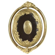 Gold Filled Victorian Black Onyx Spinning Mourning Hair Pin/Brooch  [CXXC]